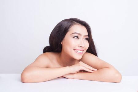 smile face: Attractive asian woman skin care image