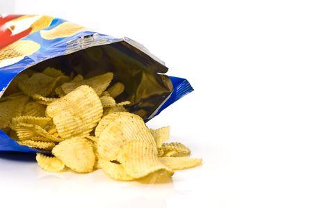 potato crisps: Potato chips and bag Stock Photo