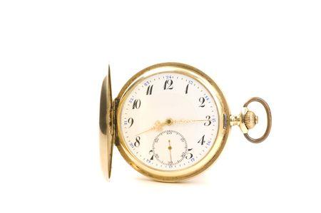heirlooms: Vecchio orologio da tasca su sfondo bianco Archivio Fotografico