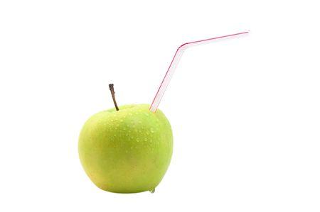 drinking straw: Apple con paglia di bere Archivio Fotografico