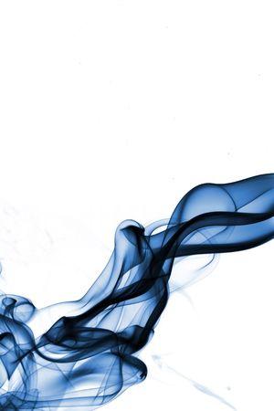 Blue smoke isolated on white  photo