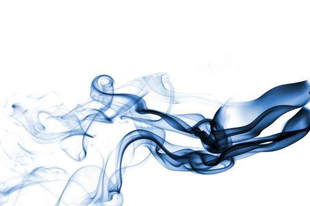 Blue smoke isolated on white  Stock Photo