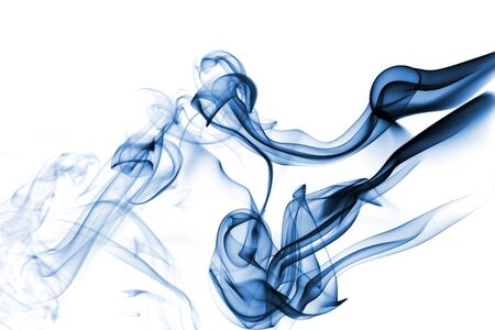 Blue smoke isolated on white  photo