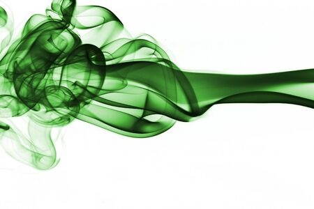 Green Smoke on White Background Stock Photo