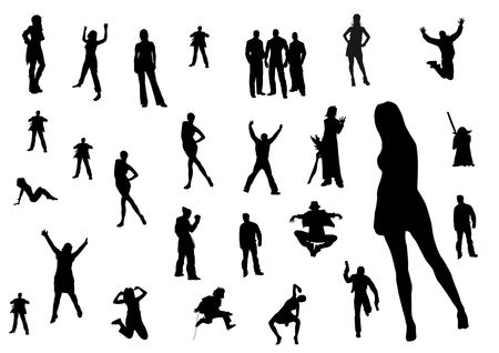 come on: silhouette of people Stock Photo
