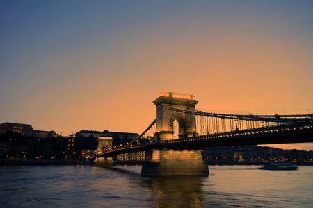 Hungary-Budapest Chain Bridge photo