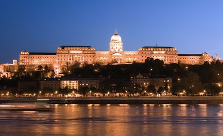 budapest: night lights in Budapest  Stock Photo