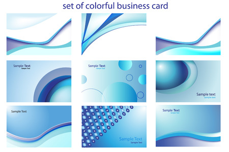 set of colorful business card