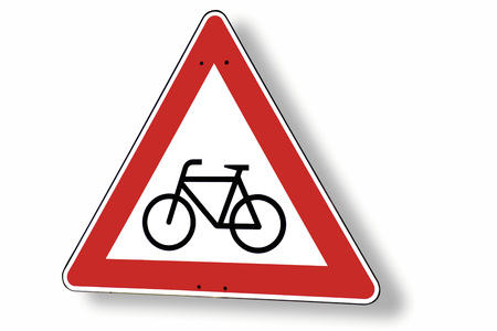 Give way sign with bike, close-up photo