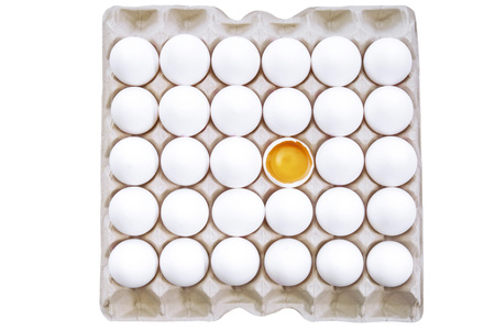 egg box: Eggs in egg carton Stock Photo