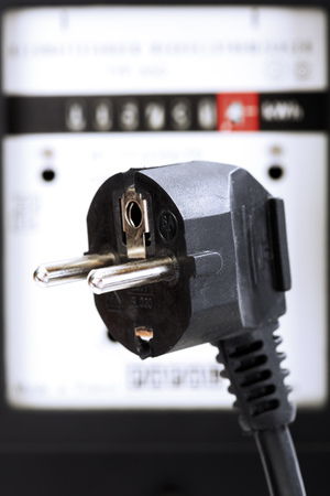 electricity meter: Electricity meter and plug connector Stock Photo