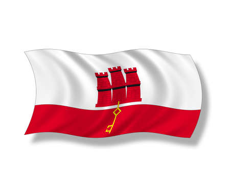 windblown: Illustration, Flag of Gibraltar Stock Photo