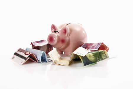 Piggy bank with euro notes and Swiss francs photo