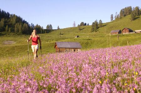 hobby hut: Austria, woman Nordic walking in meadow