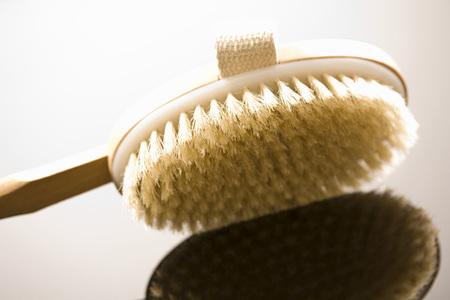 bristle: Wooden bath brush, close-up