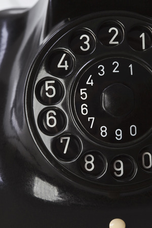 Antique Telephone, dial plate, close up photo