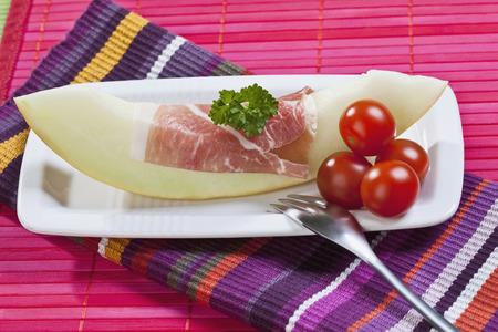 parma ham: Melon slice with Parma ham