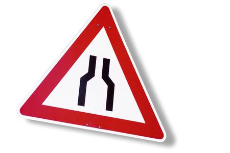 narrows: Road sign, road narrows, close-up Stock Photo