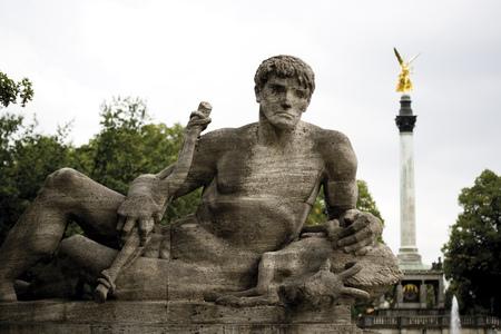 Germany, Bavaria, Munich, Statue on Prinzregentbridge photo