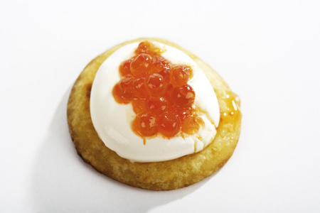 Blini with sour cream and caviar photo