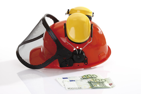 delinquency: Hardhat and 100 Euro bank notes