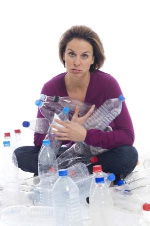 reprocessing: Man holding plastic bottles Stock Photo