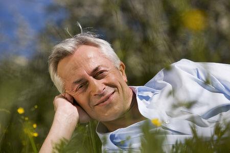 baden wurttemberg: Germany baden wurttemberg tubingen senior man lying in meadow leaning on hand smiling Stock Photo