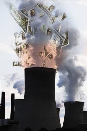 smoke stack: US dollar notes coming out of smoke stack