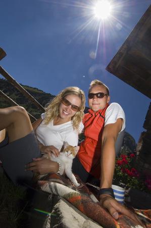 Austria, Salzburger Land, couple taking a break photo
