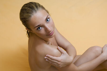 nude wet: Portrait of naked young woman