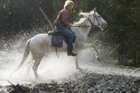 spattering: Austria, Salzburger Land, Altenmarkt, Man horse riding
