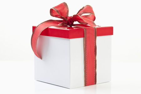Present box on white background photo