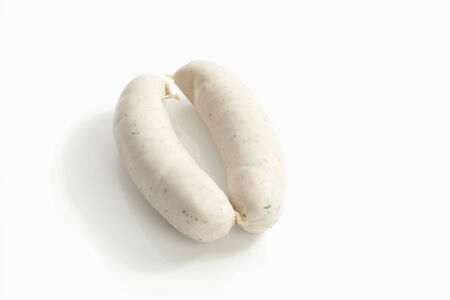 veal sausage: Bavarian veal sausage, Close up Stock Photo