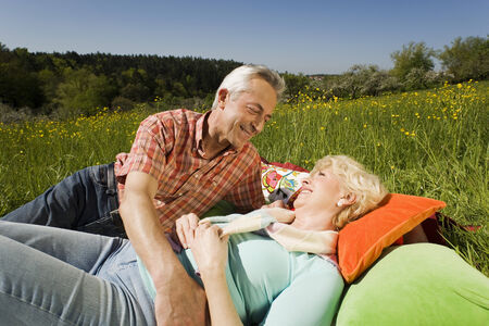 baden wurttemberg: Germany baden wurttemberg tubingen senior couple relaxing on meadow lying embracing smiling