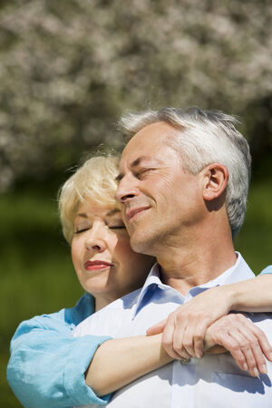 baden wurttemberg: Germany baden wurttemberg tubingen senior couple embracing eyes closed