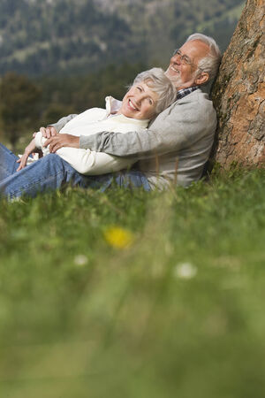 Austria, Karwendel, Senior couple leaning against tree trunk in the countryside photo