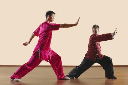 imitating: Kung Fu, Changquan, Gongbu, Long Fist Style, Kung fu instructor and boy