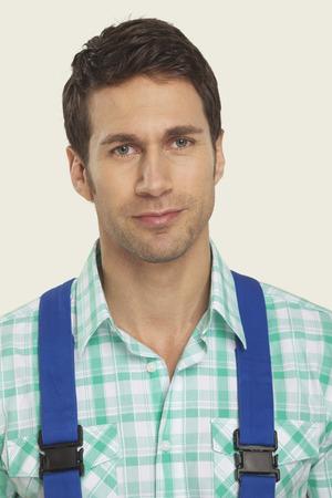 overall: Man wearing overall portrait