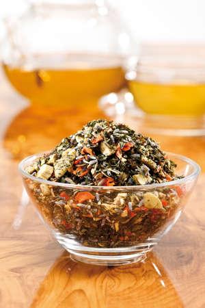 Herb tea mixture, close-up photo