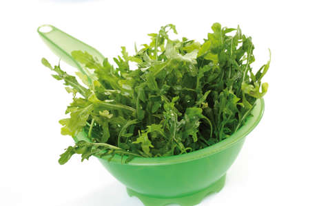 Rocket salad in plastic bowl photo