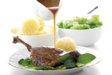 Roast goose with side dishes