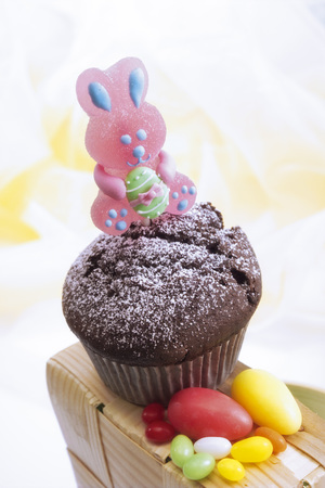 nack: Chocolate muffin with Easter decoration