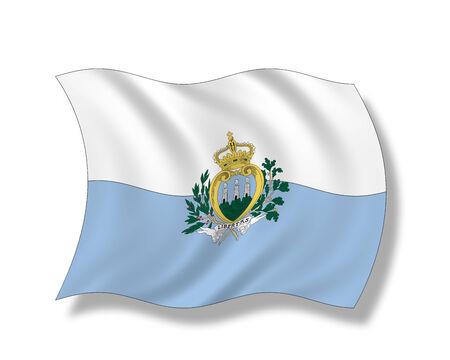 sammarinese: Illustrazione, bandiera di San Marino Archivio Fotografico