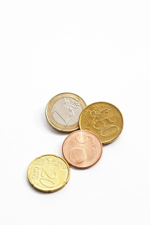 elevated view: Euro cents on white background elevated view