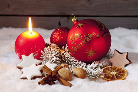 Christmas decorations on pile of snow photo