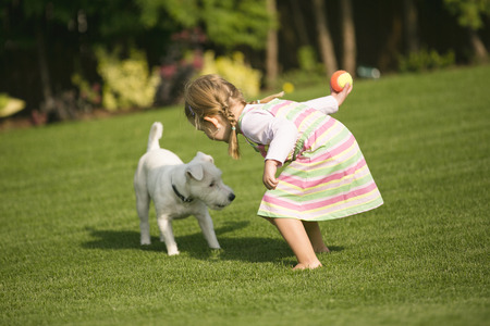 庭で遊ぶ犬と少女