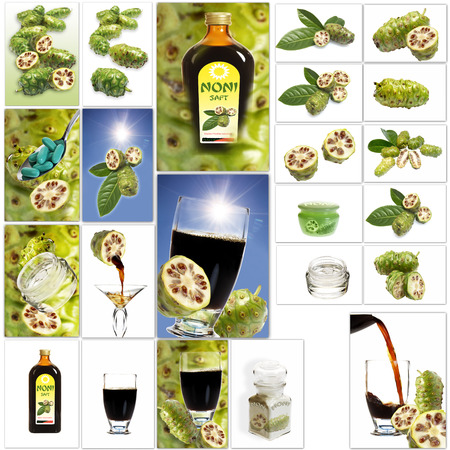 noni fruit: Various noni fruit products, collage Stock Photo