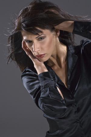 lascivious: Dark-haired woman, portrait