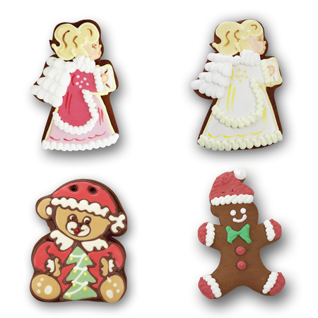 Gingerbread angel, bear man on white background photo