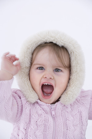 intolerant: Baby girl screaming, portrait